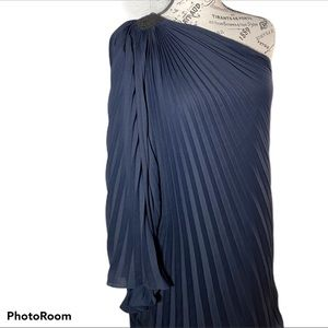 NWT Halston Heritage Navy One Shoulder Pleated